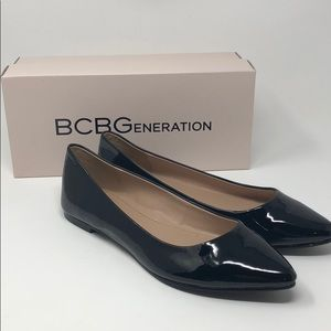 Bcbg patten leather flats new with box